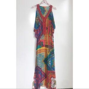HALE BOB Cabana Silk Maxi Kaftan Maxi Dress! LG